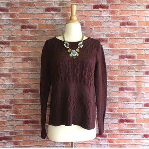 LOFT burgundy mixed stitch pullover sweater